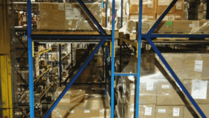 A photo of Boxes on Pallet Racking in the AIB DSU Warehouse