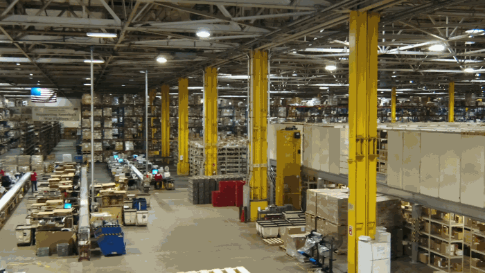 A picture of the AIB DSU Warehouse with a view of Quality Control and the Mezzanine