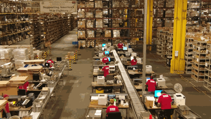 An aerial view of the Quality Control and Packing Lines in the AIB DSU Warehouse